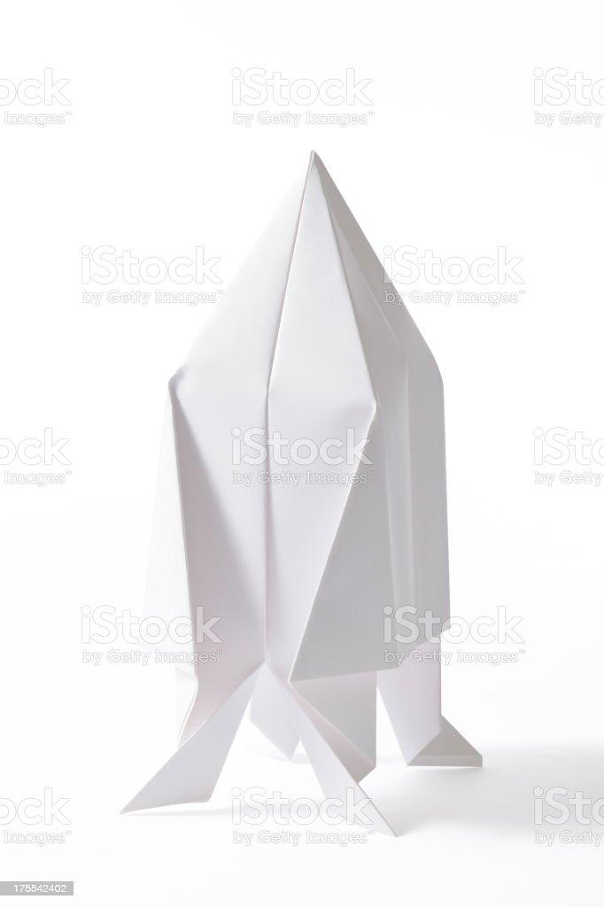Isolated Shot Of Blank Origami Spaceship On White Background Stock