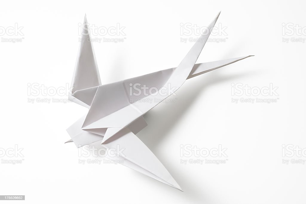 Isolated shot of blank Origami Swallow on white background stock photo