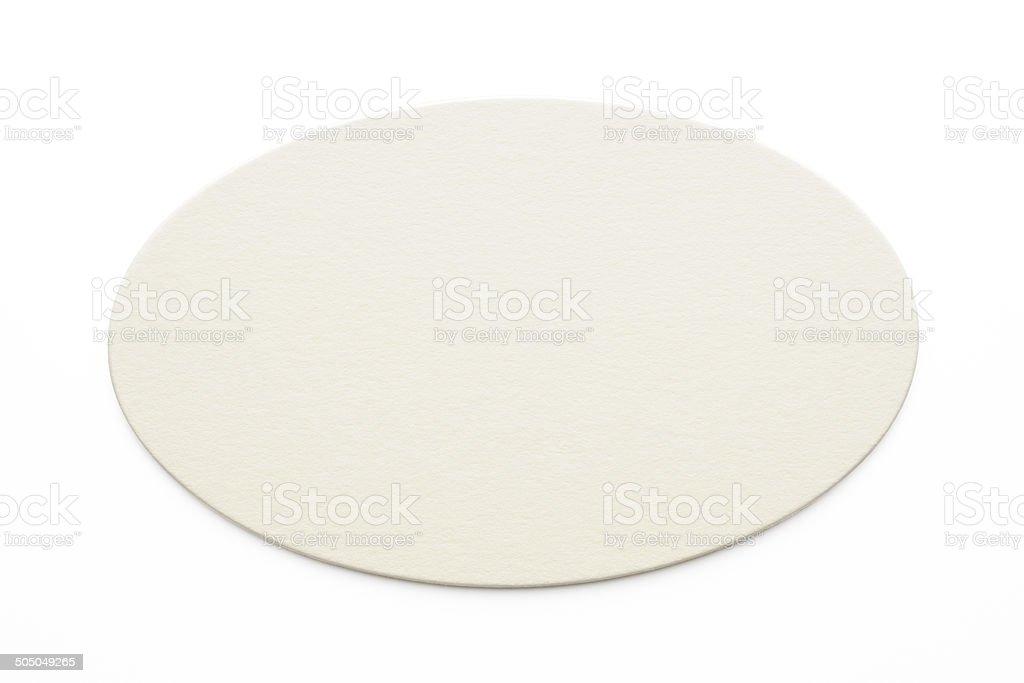 Isolated shot of blank oval shape label on white background stock photo