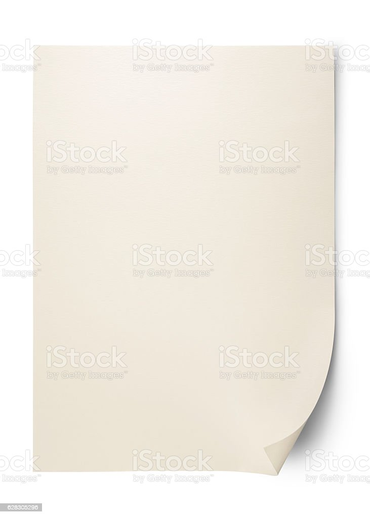 Isolated shot of blank paper on white with clipping path stock photo
