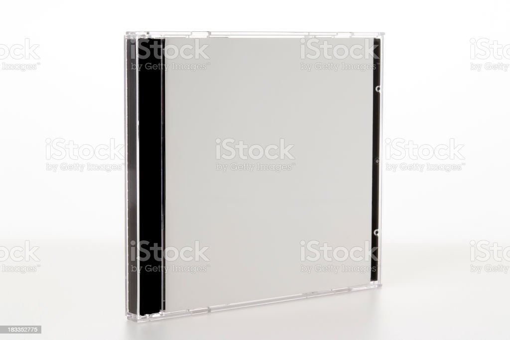 Isolated shot of blank plastic CD case on white background stock photo