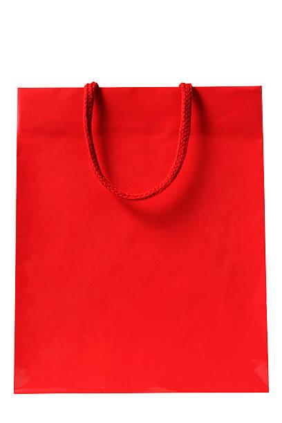 Toma de rojo Aislado en blanco bolsa de compras sobre fondo blanco - foto de stock