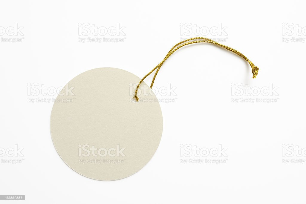 Isolated shot of blank round tag on white background stock photo