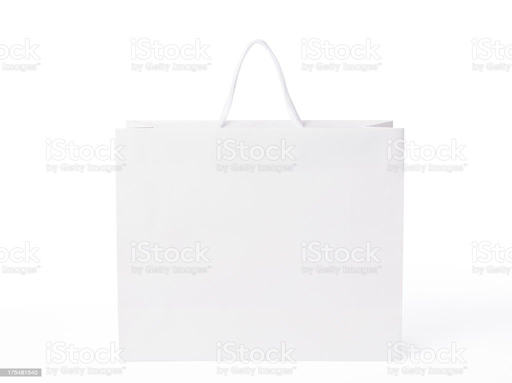 Isolated shot of blank shopping bag on white background stock photo