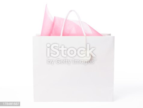Blank shopping bag with blank tag isolated on white background with clipping path.