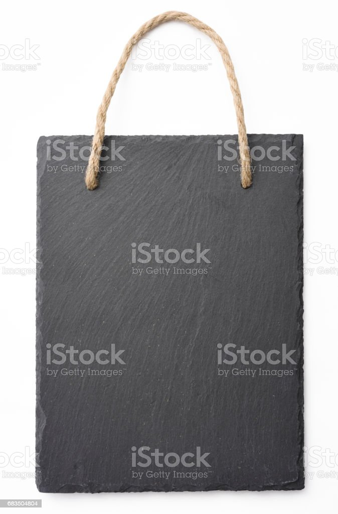 Isolated shot of blank slate sign board on white background stock photo