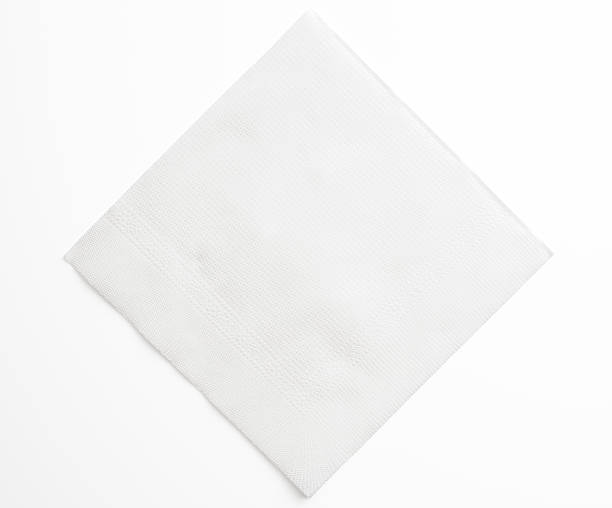 isolated shot of blank white paper napkin on white background - square stock pictures, royalty-free photos & images