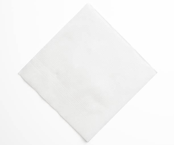 isolated shot of blank white paper napkin on white background - servett bildbanksfoton och bilder
