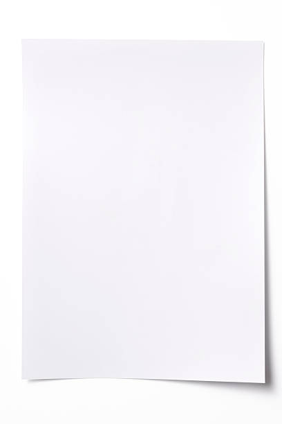isolated shot of blank white paper sheet on white background - curled up stock pictures, royalty-free photos & images