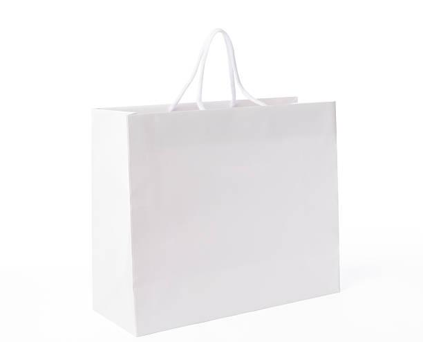 Imagen de blanco Aislado en blanco bolsa de compras sobre fondo blanco - foto de stock