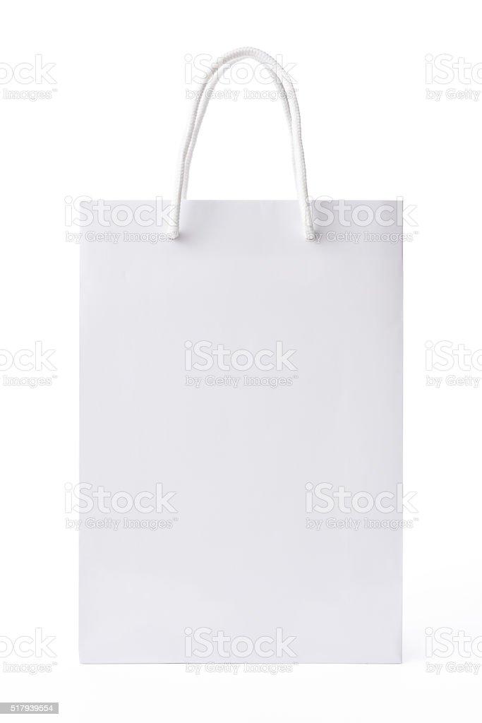 Isolated shot of blank white shopping bag on white background stock photo