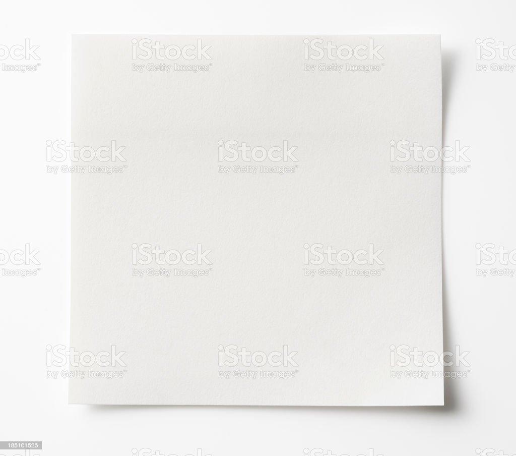 Isolated shot of blank white sticky note on white background. royalty-free stock photo