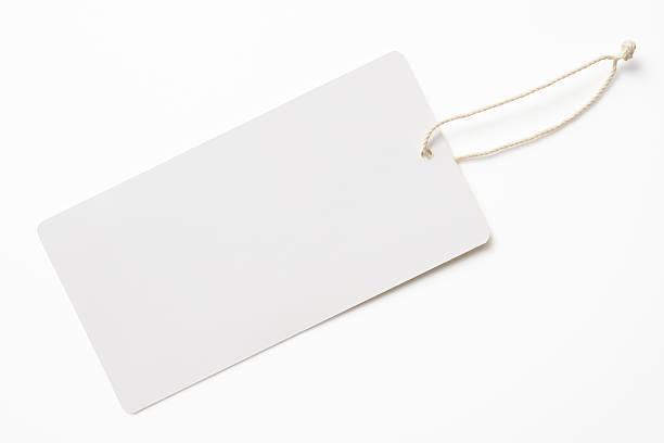 Blanco aislado fotografía de etiqueta en blanco sobre fondo blanco - foto de stock