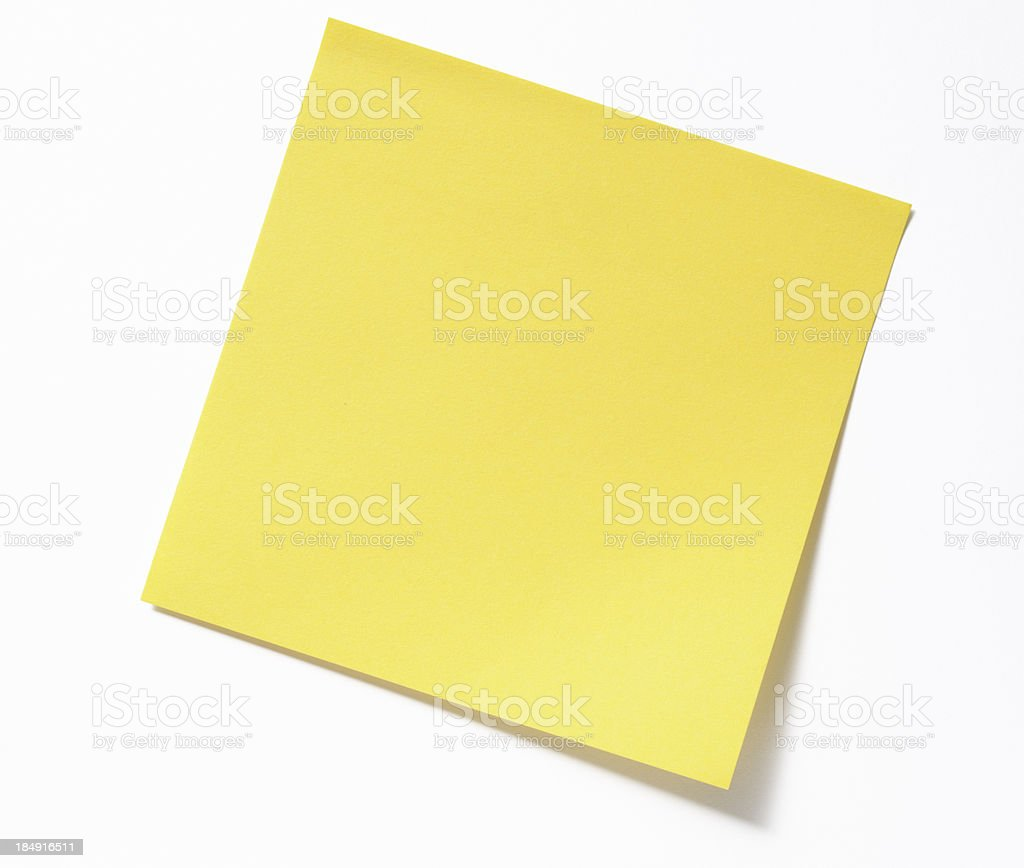 Isolated shot of blank yellow sticky note on white background stock photo