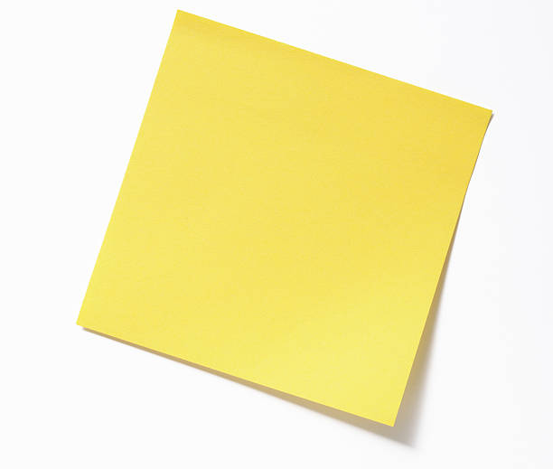 isolated shot of blank yellow sticky note on white background - sticky stock pictures, royalty-free photos & images