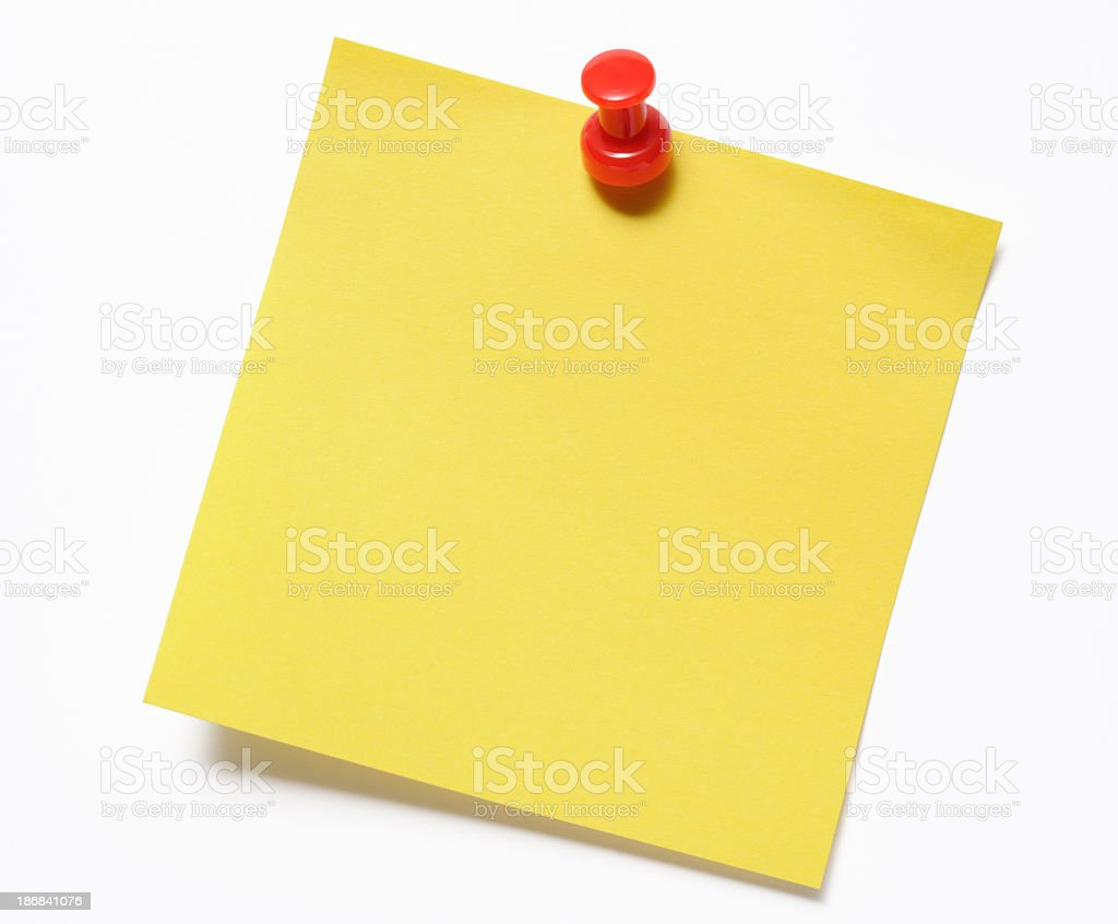 Isolated shot of blank yellow sticky note with red thumbtack stock photo