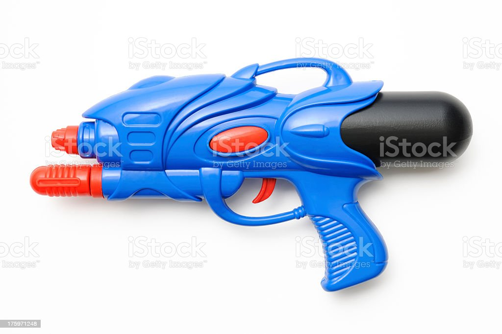 Isolated shot of blue squirt gun on white background stock photo