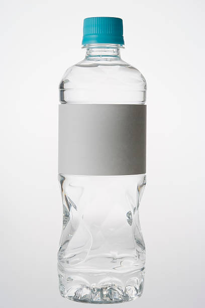 isolated shot of bottle with blank label on white background - plastic cap stock photos and pictures