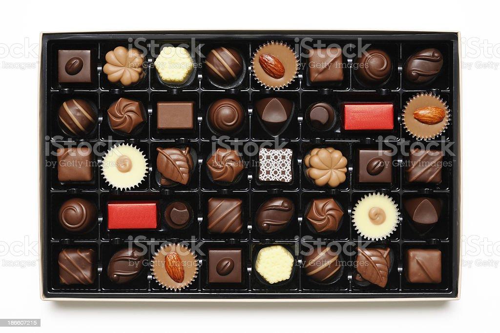 Isolated shot of box of luxury chocolates on white background royalty-free stock photo