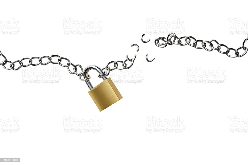 Isolated shot of broken chain with padlock on white background stock photo