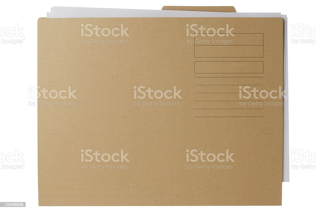 Isolated shot of brown folder with document on white background royalty-free stock photo