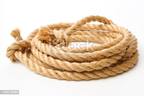 Brown spiral rope isolated on white background.