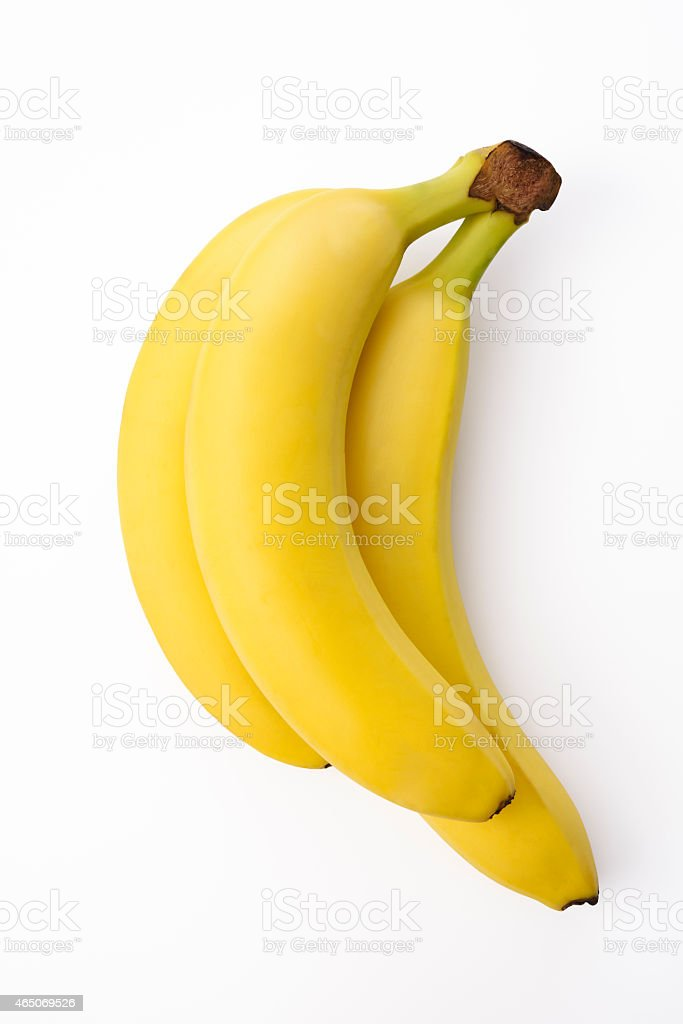 Isolated shot of bunch of bananas on white background stock photo