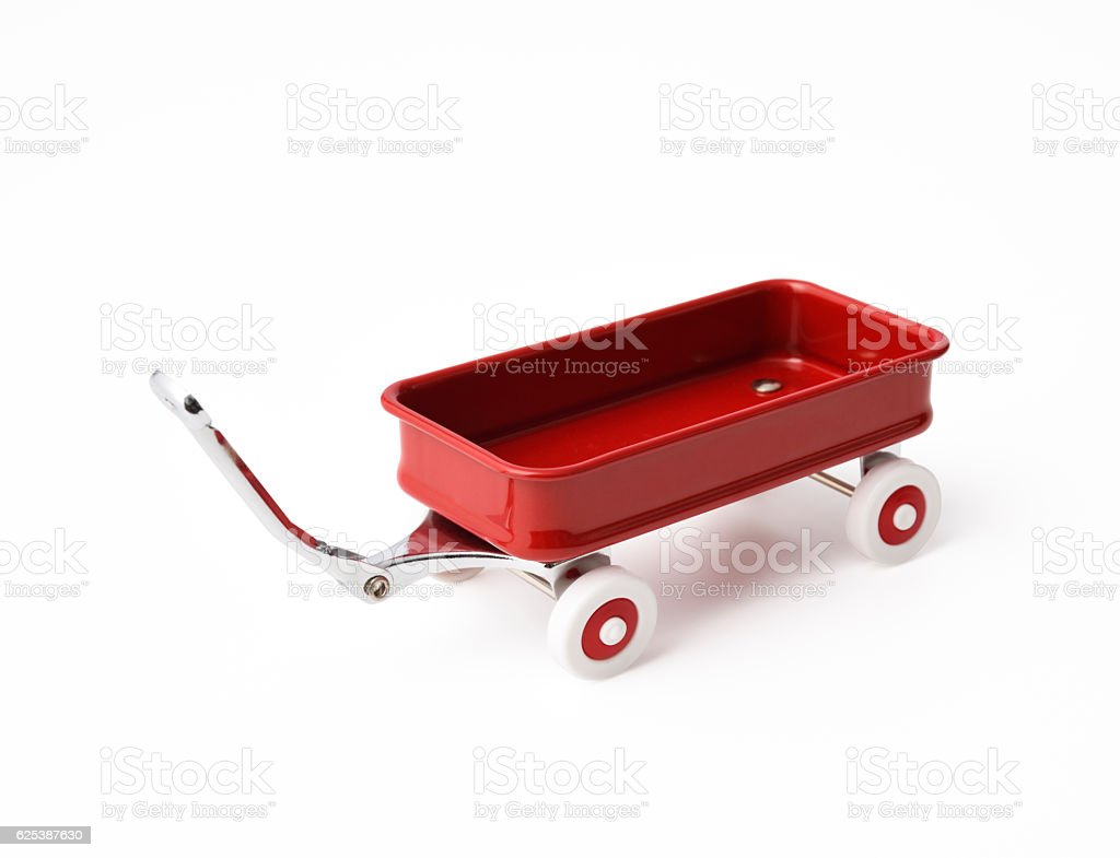 Isolated shot of child toy red wagon on white background – Foto