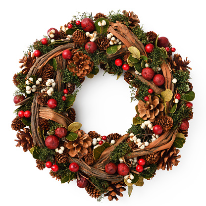 Christmas Wreath isolated on white with clipping path.