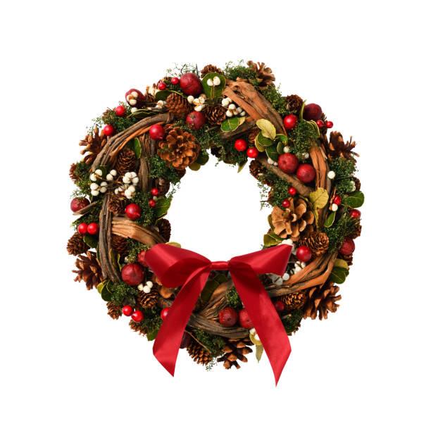 isolated shot of christmas wreath on white background. - wieniec zdjęcia i obrazy z banku zdjęć