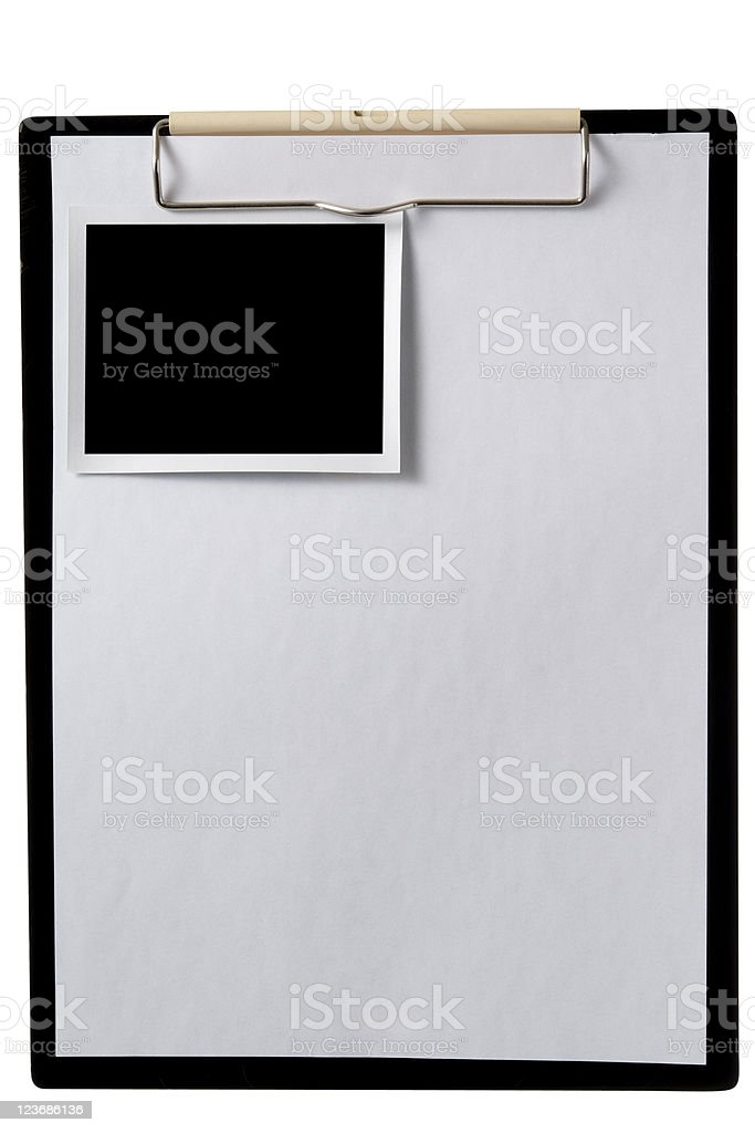 Isolated shot of clipboard with blank photo on white background stock photo