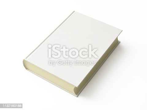 High angle view of closed blank book, isolated on white with clipping path.