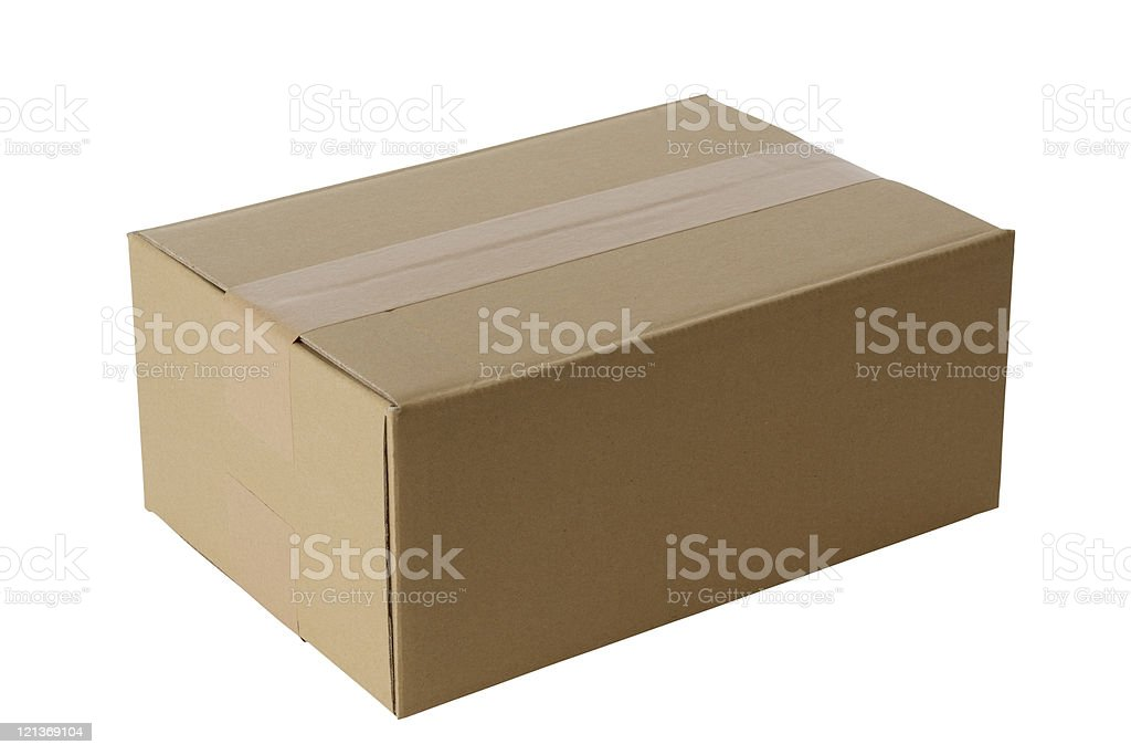 Isolated shot of closed blank cardboard box on white background royalty-free stock photo