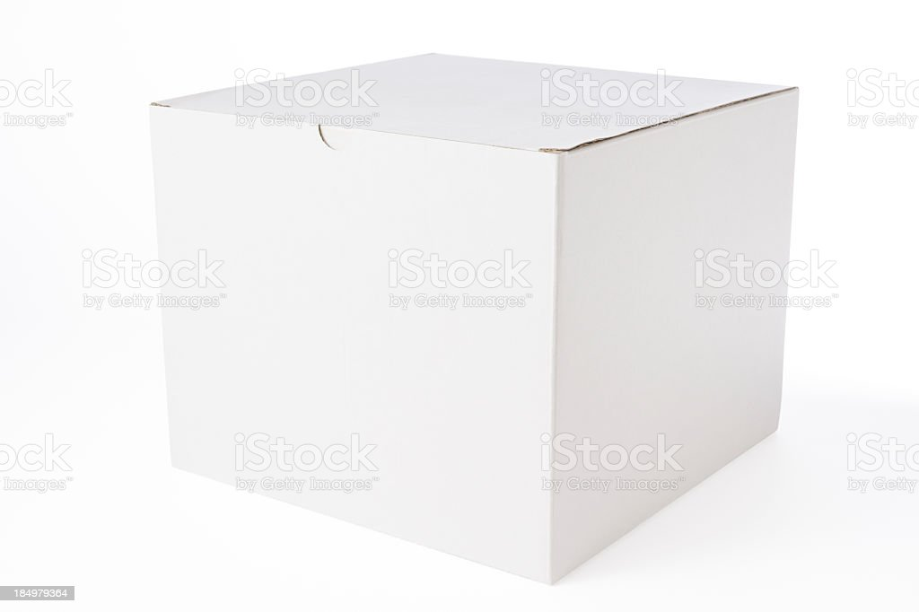 Isolated shot of closed blank cube box on white background stock photo