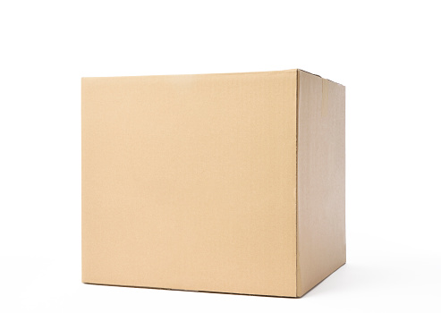 Closed blank cube cardboard box isolated on white background with clipping path.