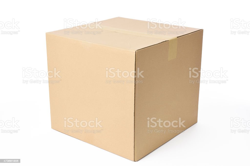 Isolated shot of closed cube cardboard box on white background stock photo