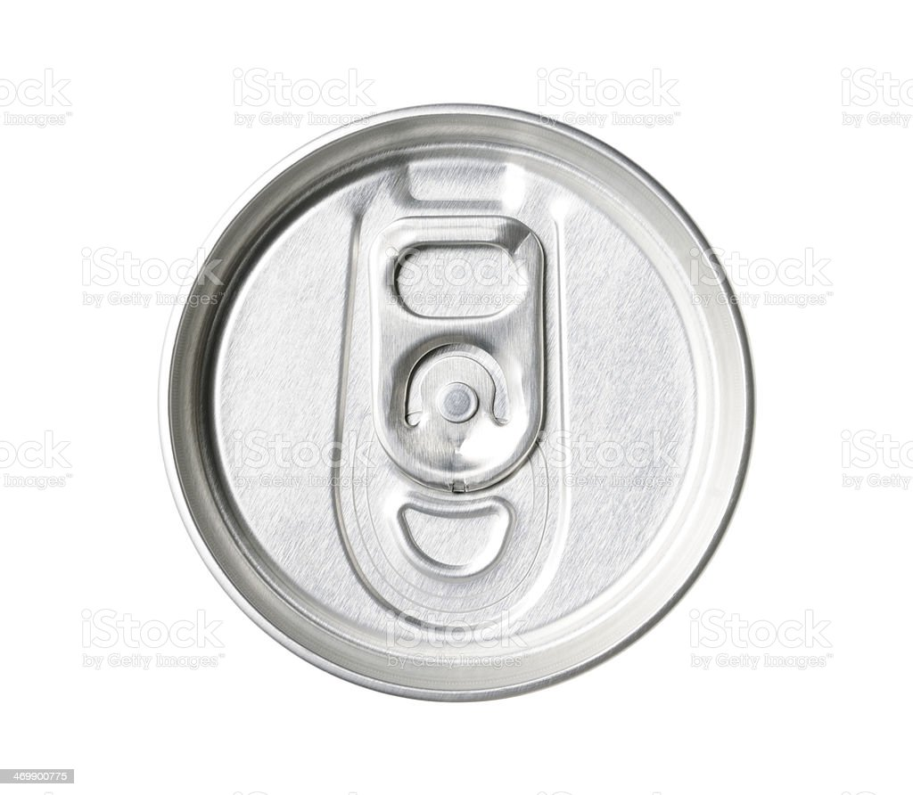 Isolated shot of closed drink can on white background stock photo