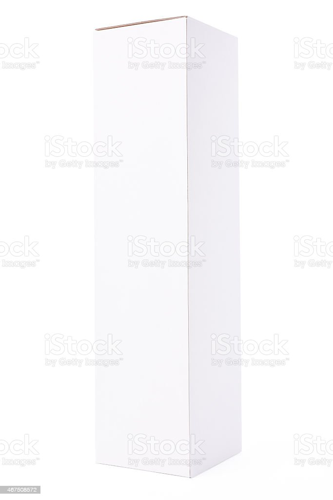 Isolated shot of closed long blank box on white background stock photo