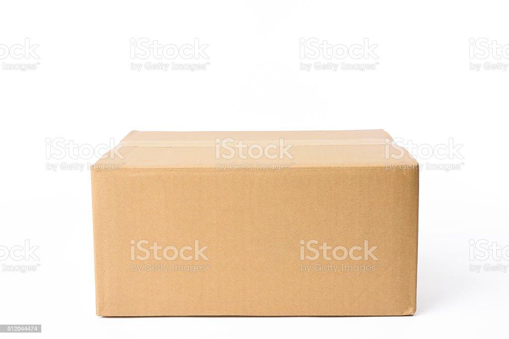 Isolated shot of closed rectangular cardboard box on white background stock photo