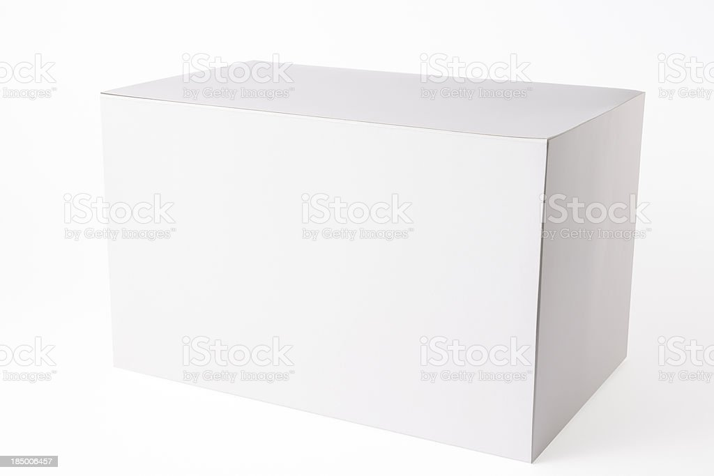 Isolated shot of closed white blank box on white background royalty-free stock photo