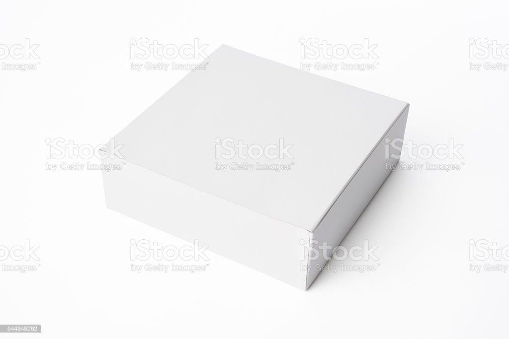 Isolated shot of closed white blank box on white background