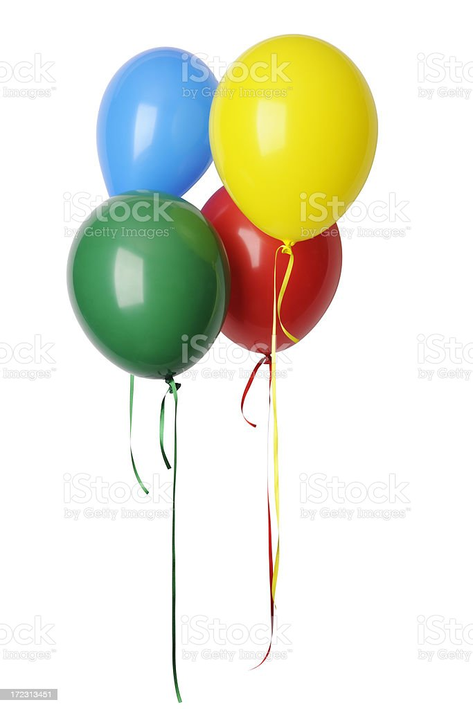 Isolated shot of colorful balloons with ribbon against white background stock photo