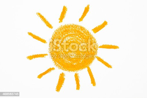 istock Isolated shot of crayon drawing the Sun on white background 468583745