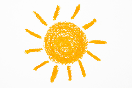 Orange Sun which was drawn with a crayon on white background.