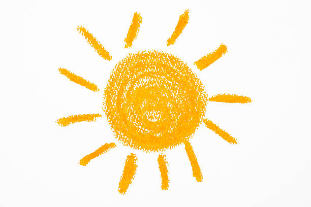 Isolated shot of crayon drawing the Sun on white background Orange Sun which was drawn with a crayon on white background. crayon stock pictures, royalty-free photos & images