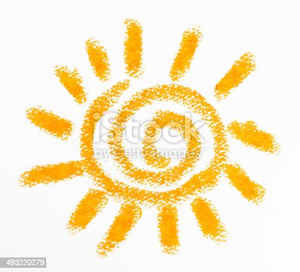 istock Isolated shot of crayon drawing the Sun on white background 493220279