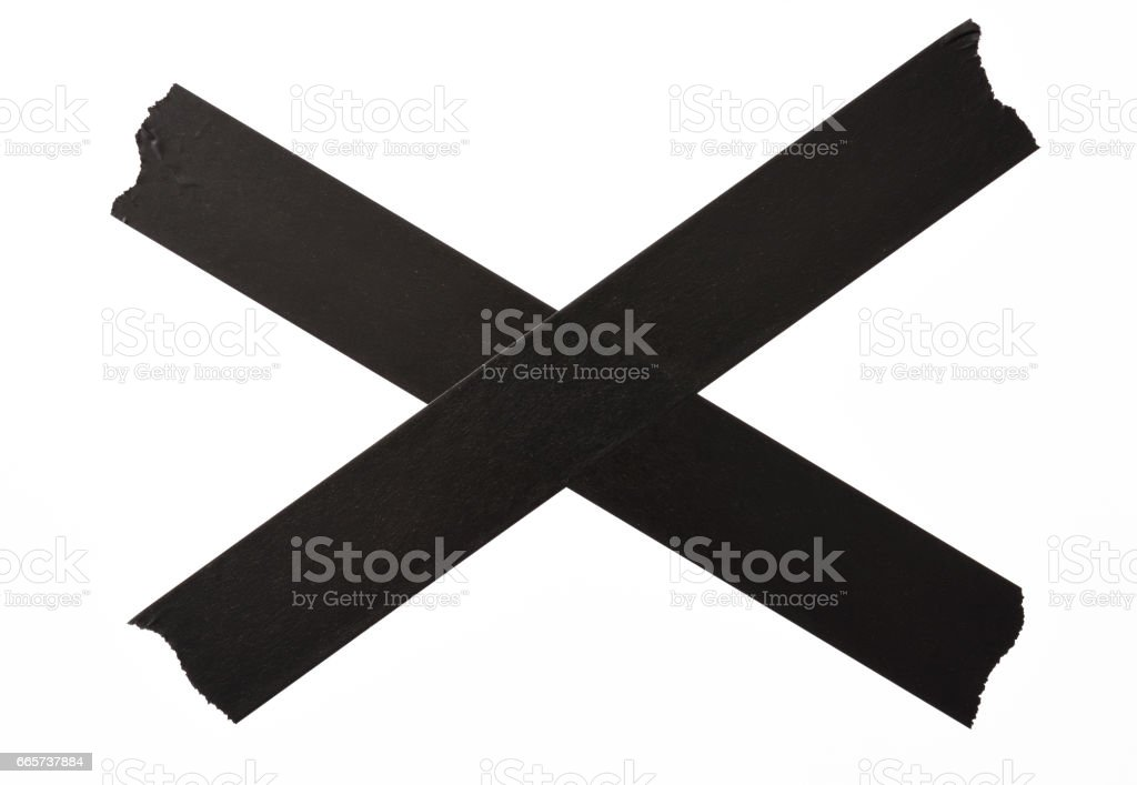 Isolated shot of crossed torn black adhesive tape on white background stock photo