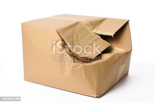 Crushed cardboard box isolated on white background.