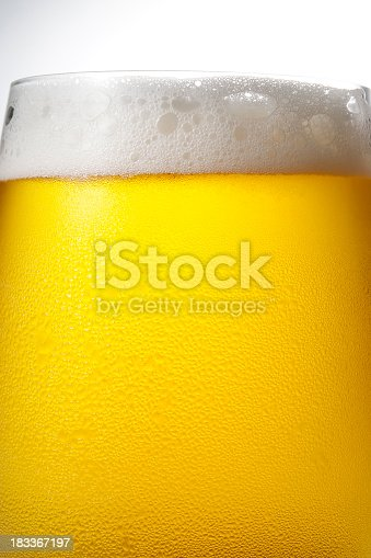 istock Isolated shot of dewy cold beer against white background 183367197