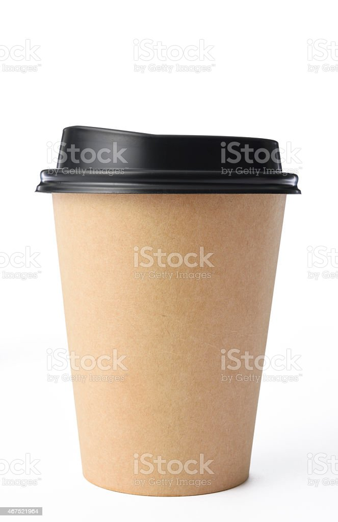 Isolated shot of disposable coffee cup on white background stock photo